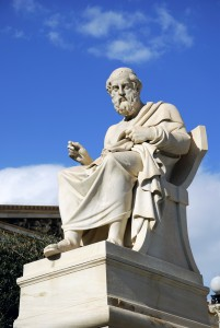 The statue of the Greek ancient philosopher Plato at the facade of the Academy of Athens in Greece