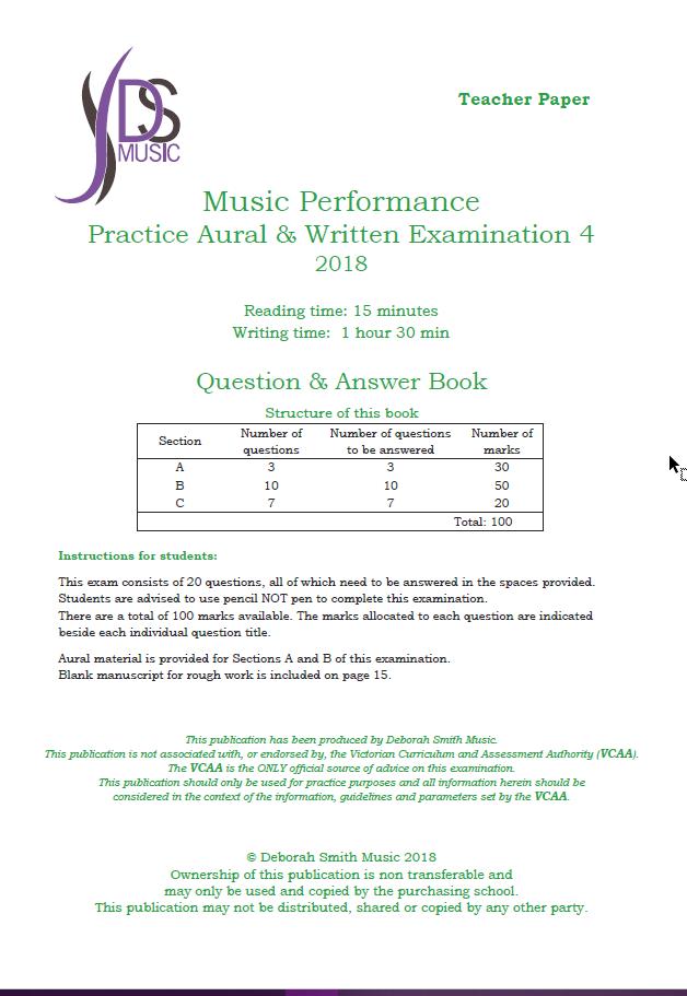 VCE Music Performance - Unit 4, Practice Aural & Written Examination 4 2018